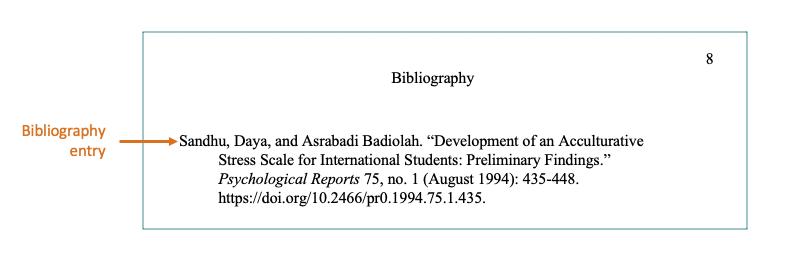 Bibliography版式